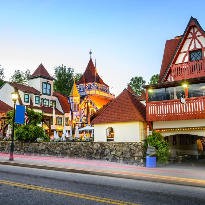 Beautiful evening photo of shops in quaint town of Helen GA